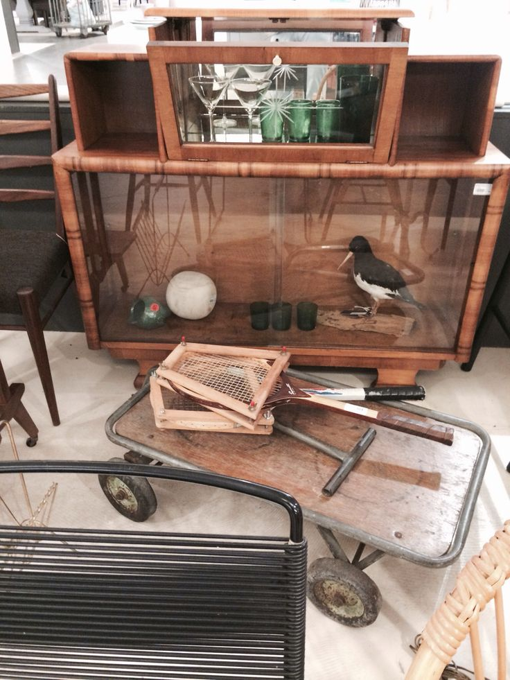 Art deco display cupboard with glass doors and cocktailbar SOLD! Through www.sandervaneyck.nl
