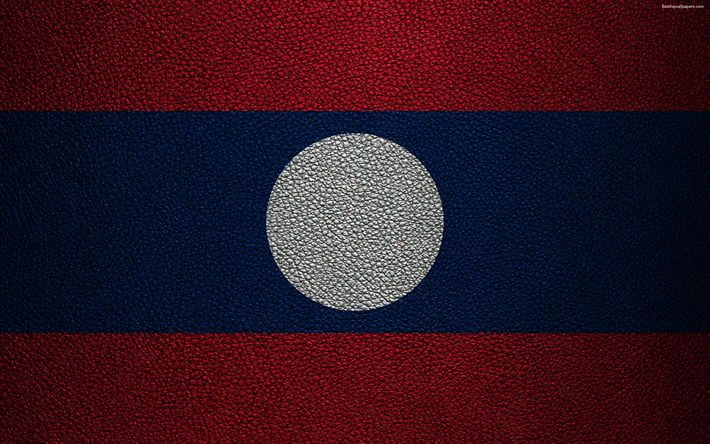 Download wallpapers Flag of Laos, 4k, leather texture, Lao flag, Asia, world flags, Laos