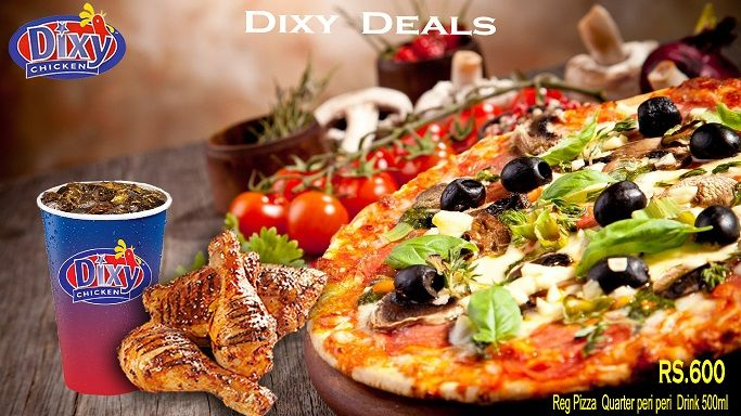 #Hot #Deal For #Pizza #Lovers #Regularpizza, with quarter #peri_peri and 500ml drink. Spicy Hot Sauce, Hot Chicken, Cheese & Chilli Flakes. Take our word when we say that this is the Best & classic taste in town. Order Online For Fast Delivery Or Drop By To Carry out. Dixy Chicken Lahore (893-D Faisal Town, Near Akbar Chowk). For Free Home Delivery Call Now: 0304-1113499 #Fries #Food #Rice #friedChicken #Burgers #Pizza #Spicy #PeriPeriChicken #HotDeals #GrilledChicken #Shakes #icecream…