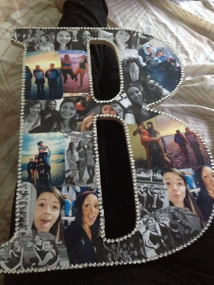 Made this for my best friend as a birthday present and she absolutley loved it! All you need a wooden letter, a bunch of pictures, and rhinestones!