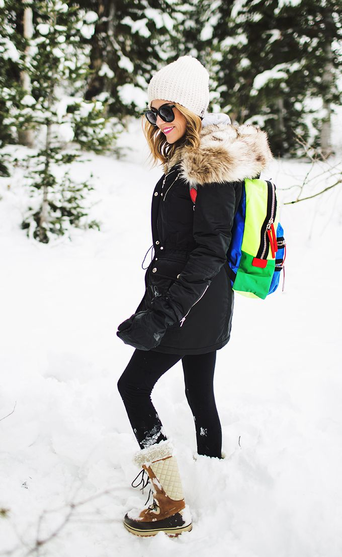 DETAILS: BLACK FUR-TRIMMED PARKA (SIZE SMALL) || HOODIE (MEN'S SIZE SMALL) || BLACK LEGGINGS|| SNOW BOOTS || WHITE BEANIE || NEON BACKPACK || MITTENS || SUNGLASSES CODY: BLACK COAT || GREY SWEATER ...