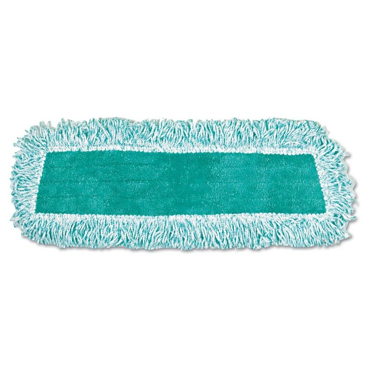 """Rubbermaid Commercial RCPQ408GRE Dust Mop Heads with Fringe 18"""" Microfiber Cut-E Green Janitorial Supplies Cleaning Tools Mop Heads"""
