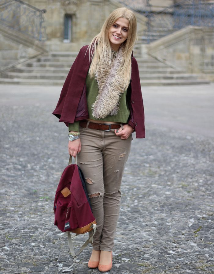 Outfit herbst burgundy