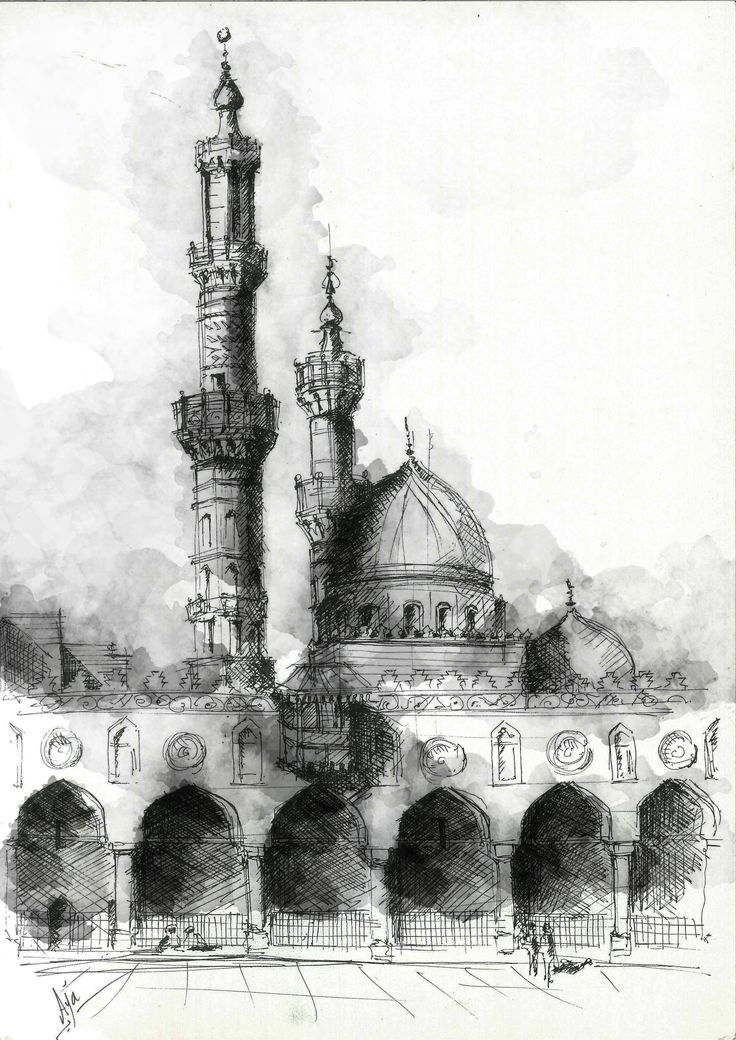 Courtyard of Al-Azhar Mosque, located on Al Azhar street, Old Cairo