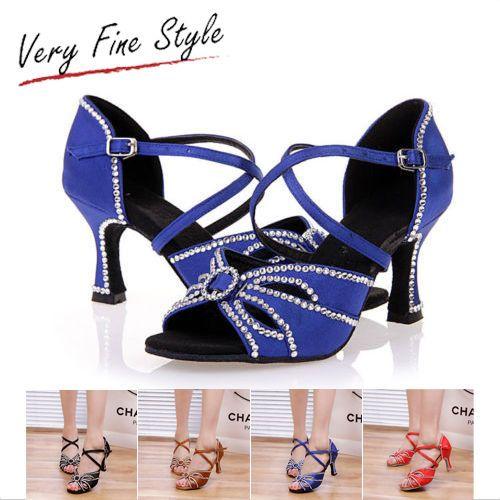 Women Rhinestone Dance Shoes Ballroom Latin Tango Salsa Dancing Shoes