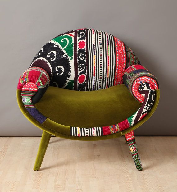 Smiley Patchwork Armchair  Spring by namedesignstudio on Etsy