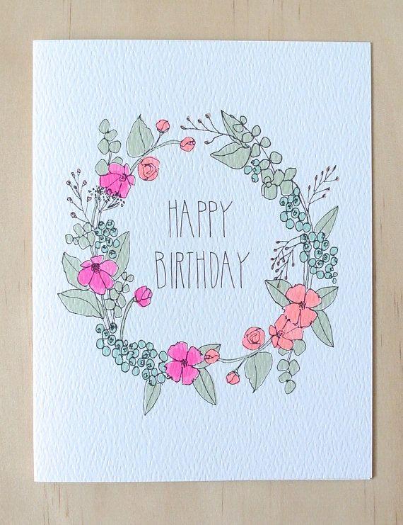 Floral Wreath Birthday Card by HartlandBrooklyn on Etsy