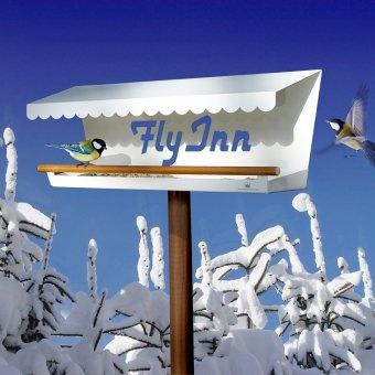 Fly Inn ist nicht einfach ein Vogelhaus, sondern ein Luxusrestaurant für Vögel, das Haus und Garten im Winter wie im Sommer schmückt. Fly Inn is not just a birdhouse, but a luxury restaurant for birds and a lovely decoration for house and garden in the winter as well as summer.