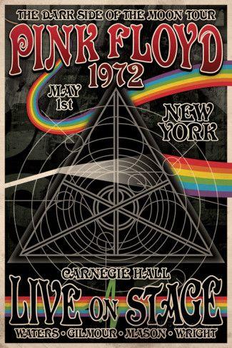 Pink Floyd 1972 Carnegie Hall poster e hoje relembrando uma pfta banda de rock de 1972 :@