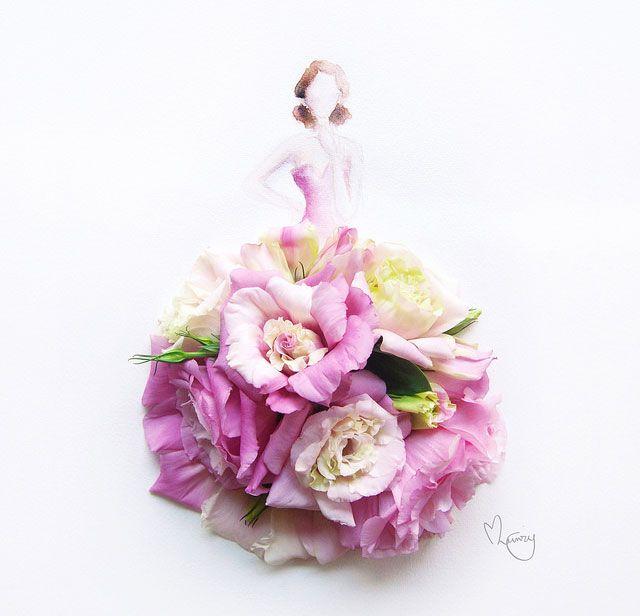 им Цзи Вэй, художница из Сингапура, известная под именем Limzy. Одна из серий ее фотоиллюстраций - акварельные рисунки, украшенные цветочными лепестками.