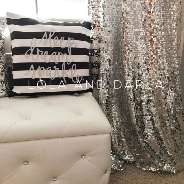 """Lola And Darla on Instagram: """"SPARKLE CURTAINS HOW TO: These curtains are super easy! Measure the length of window then add a foot to the length so they will be a little longer and will gather nicely at the bottom. Purchase curtain rings WITH CLIPS, cut the fabric in half, shake off the excess loose sequins, and hang by the clips!"""