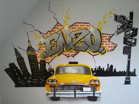 Peinture Graffiti Decoration Personnalise Chambre D Enfant Graff