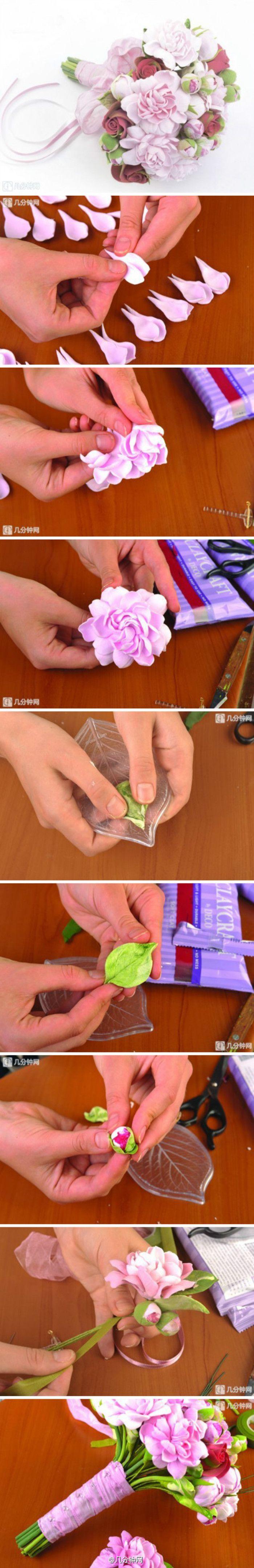 #几分钟手工# 用软陶也可以做出好看的花束