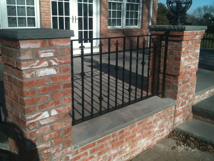 Iron Deck Railings In Between Brick Patio Railing Deck