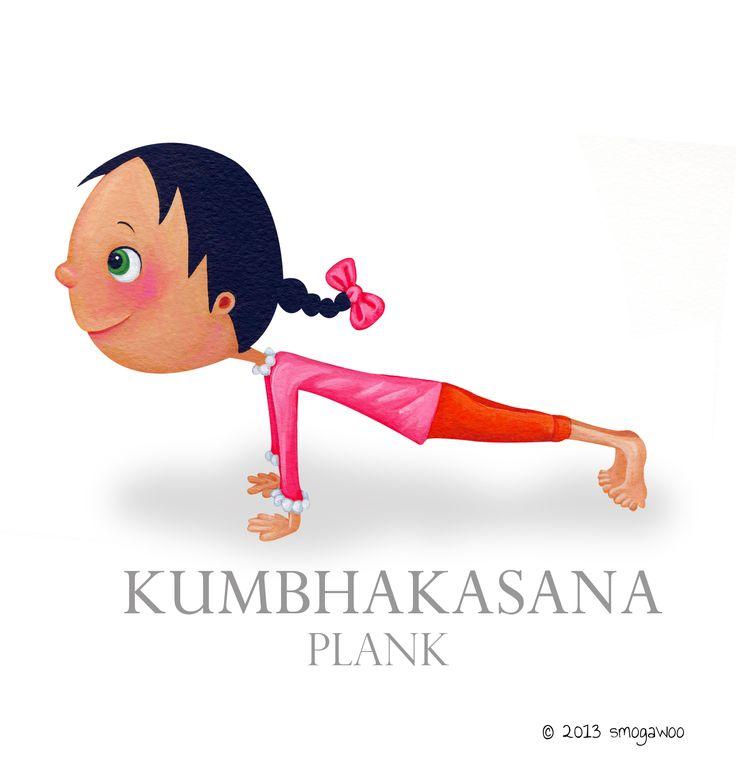 Children's illustration www.smogawoo.com #sun salutations #plank pose #yoga