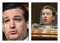 Sens. Ted Cruz (R-TX) and Rand Paul (R-KY) lead an online Tea Party presidential poll while Republican New Jersey Gov. Chris Christie comes in dead last.