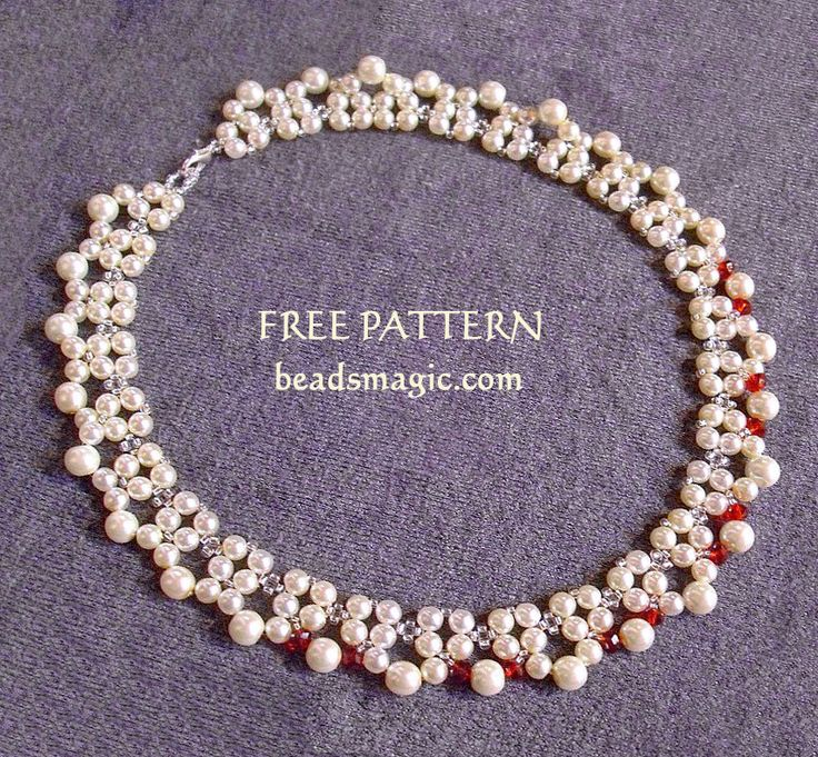 Free pattern for beaded necklace Red Accent U need: seed beads 11/0 pearls 4 mm pearls 6 mm bicone beads 4 mm