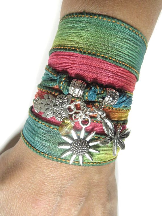 Sunflower Owl Silk Wrap Bracelet Nature Jewelry Spring di HVart, $29.99