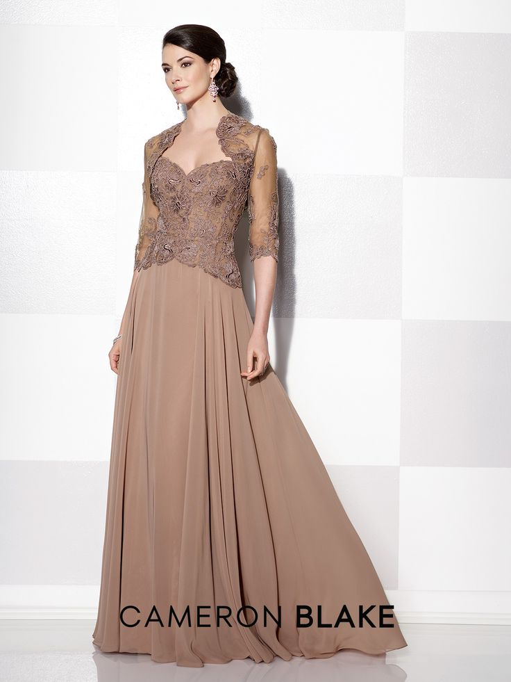 Cameron Blake - 215639 -     Strapless chiffon and lace A-line gown, sweetheart neckline, lace bodice, sweep train. Matching jacket and removable straps included.  Sizes: 4 – 20, 16W – 26W      Colors: Bronze, Dusk, Navy Blue