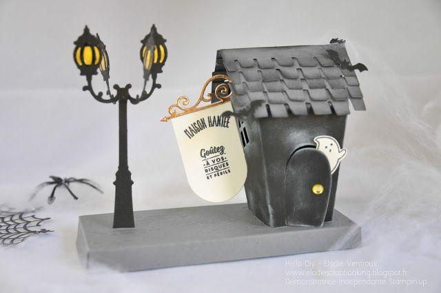 stampin'up doux foyer/ réverbère► Le Scrap d'Elodie VENTROUX  devient HelloDiy◄: Maison hantée d'Halloween !!!!!!