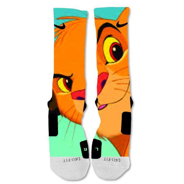 The Lion King Simba Nike Elite Socks Custom  Fast Shipping by EliteDesignzz on Etsy https://www.etsy.com/listing/212506921/the-lion-king-simba-nike-elite-socks