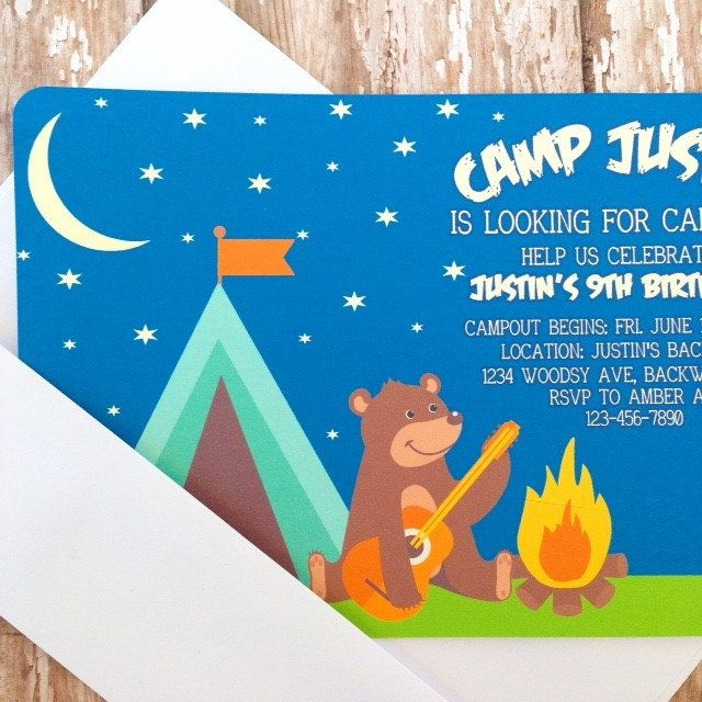 12 campout birthday invitations with envelopes camping birthday invites outdoors tent birthday party printed birthday invitation (20.40 USD) by simplysweetpartyshop