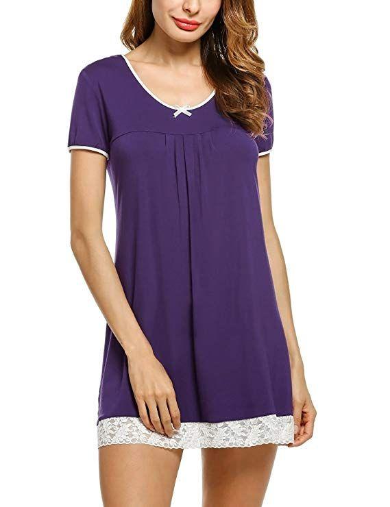 6f28f7d9f8b867 UNibelle Damen Nachthemd Kleid Nachtwäsche Negligees Kurzarm Mit  Spitzenbesatz: Amazon.de: Bekleidung #