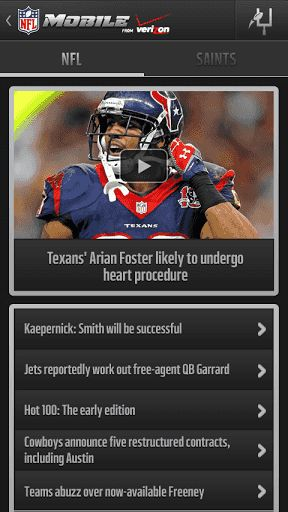 As the brand new, redesigned and rebuilt official app of the NFL, NFL Mobile carries football right to your Android phone or tablet! Receive Breaking news, Video highlights, Live game scores, Custom Team News, manage your Fantasy Football Team, and more!<p>Verizon smartphone customers can upgrade to Premium Features for access to NFL RedZone on Sunday afternoons, and LIVE NFL games on Thursday, Sunday and Monday nights during the preseason and regular season. Premium Features also gives you…