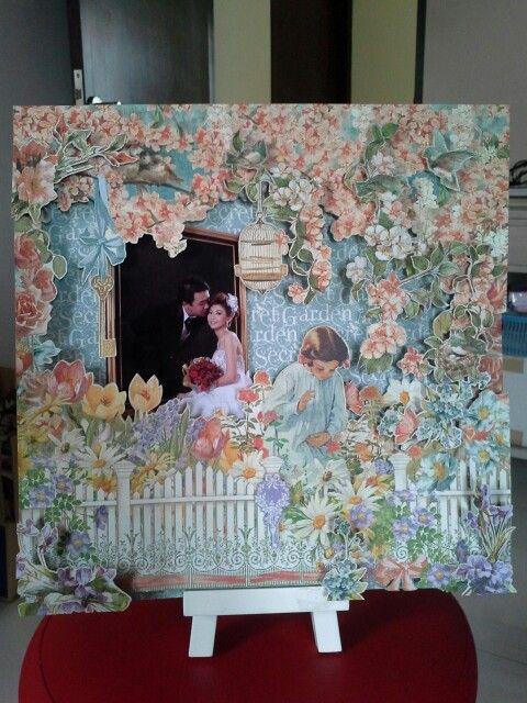 """Belongs to Debora 30x30cm wedding scrapbook using G45 """"secret garden"""""""