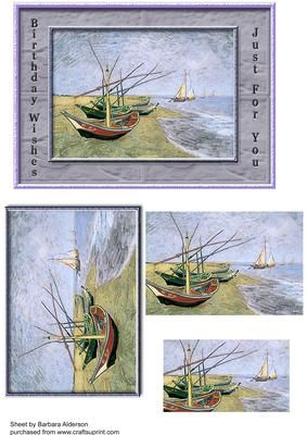 Sailing Boats on Craftsuprint designed by Barbara Alderson - pyramid topper on a card front for you to use as you please - Now available for download!