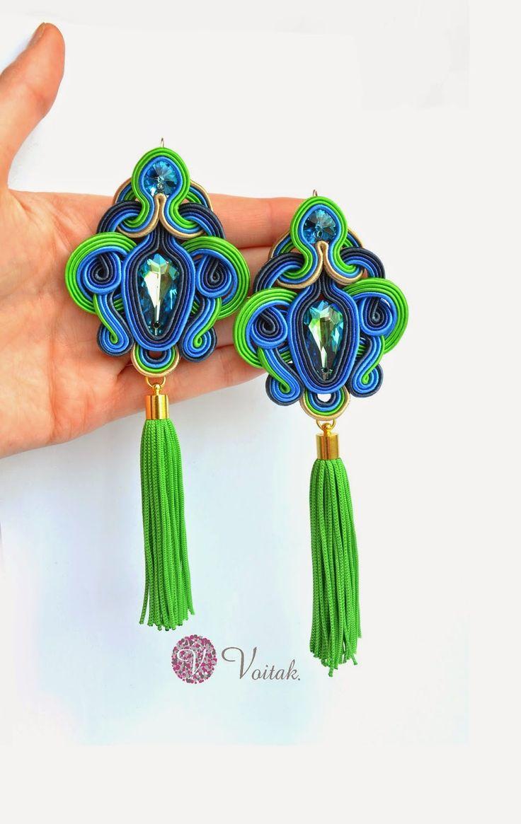 Soutache Jewelry. Artystyczna Biżuteria Autorska Katarzyna Wojtak: #0041 Pavos Reales. Kolczyki Sutasz.