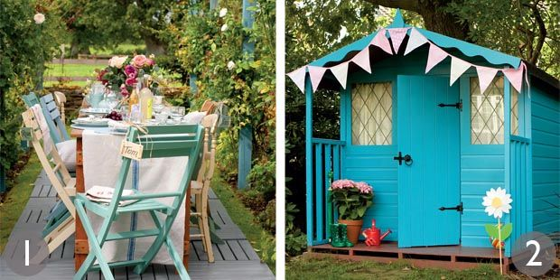 Chairs in colours from Cuprinol Garden Shades range; Summerhouse in Sadolin's Superdec wood gloss