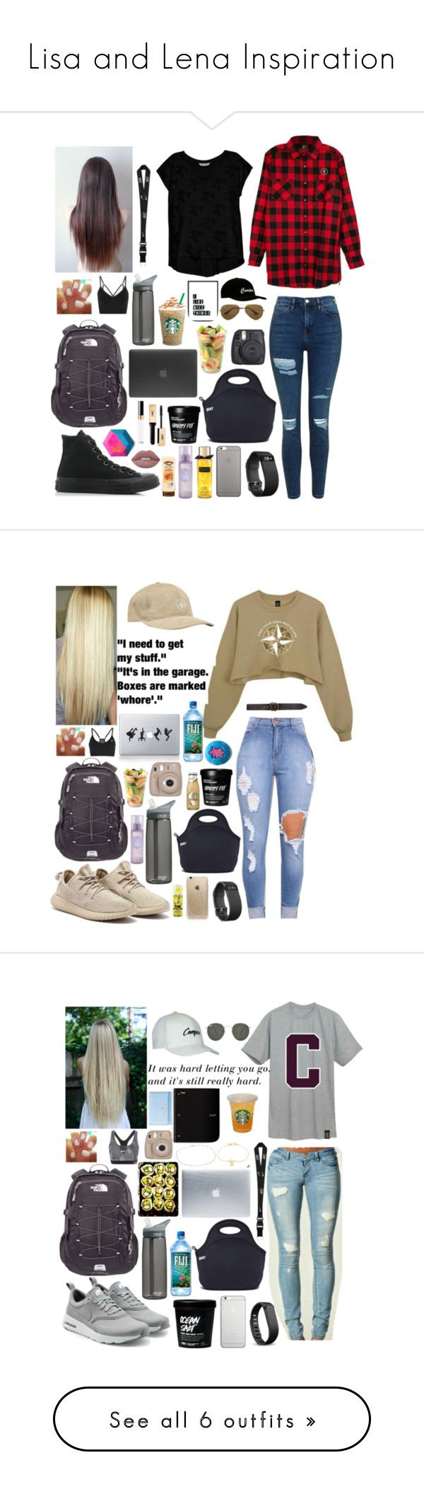 """Lisa and Lena Inspiration"" by lelandjade ❤ liked on Polyvore featuring Bobeau, Topshop, Converse, NIKE, The North Face, Fitbit, Native Union, Built, Lime Crime and Yves Saint Laurent"