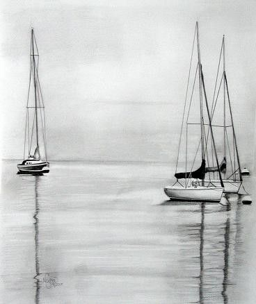 Sailboats art print pencil art artwork original by Neysasart, $20.00