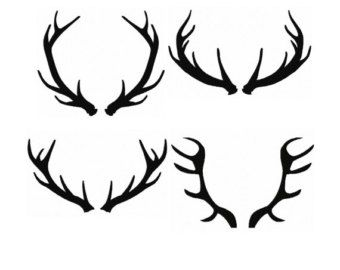 Set 4 Silhouette Buck Antlers Fill Machine Embroidery DESIGN NO. 71