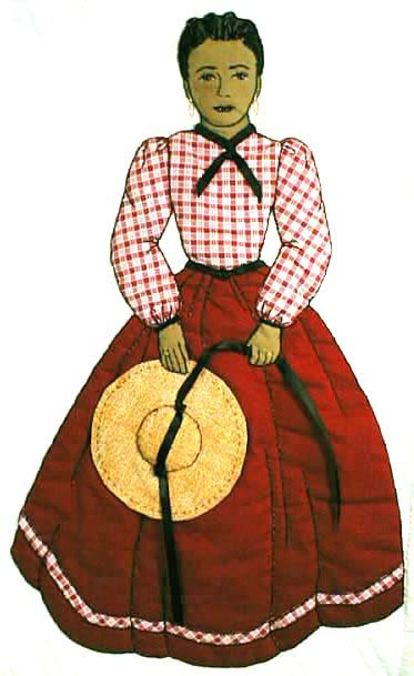 "#18 ""Bonnet Girl Relatives & Friends""  Robbyn $6.50.  Robbyn's hat is 3-D appliqué (not tacked down) and the pattern includes details for the corn rows in her hair. A gingham check blouse completes the outfit."