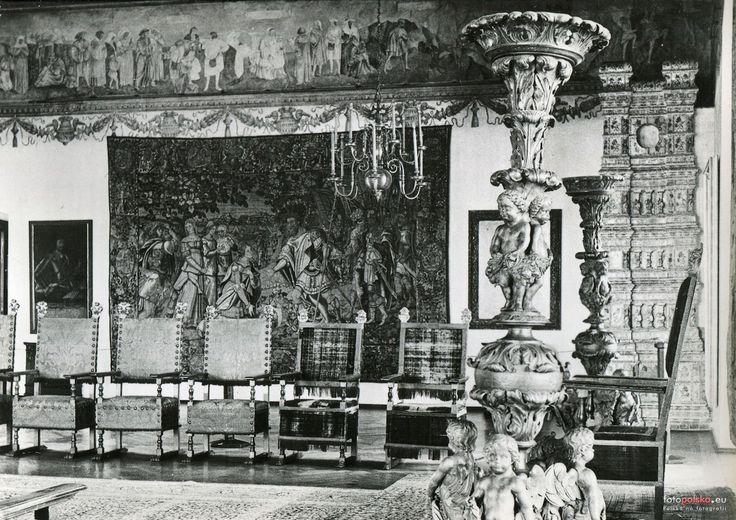 The Audience Hall (Sala Poselska), often called the Hall Under Heads - Wawel Castle, Kraków, Poland. Photograph taken in 1957.