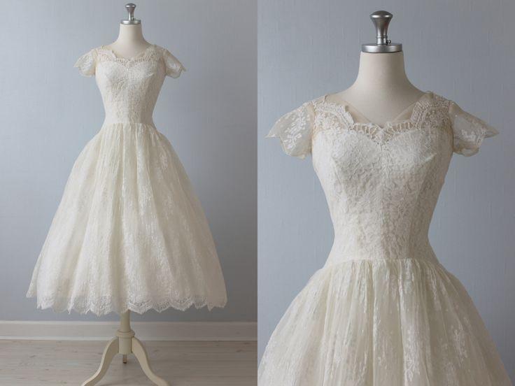Tea length wedding dress 1950s wedding dress 50s lace for Eva my lady wedding dress