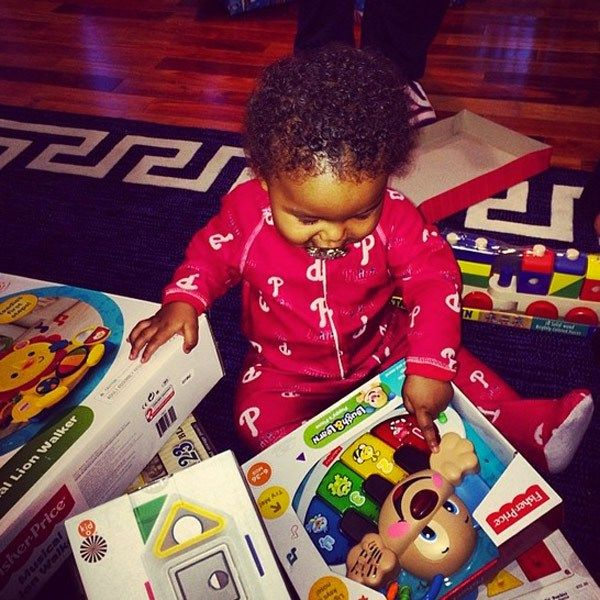 Amber Rose and Wiz Khalifa's son Sebastian opens Christmas presents