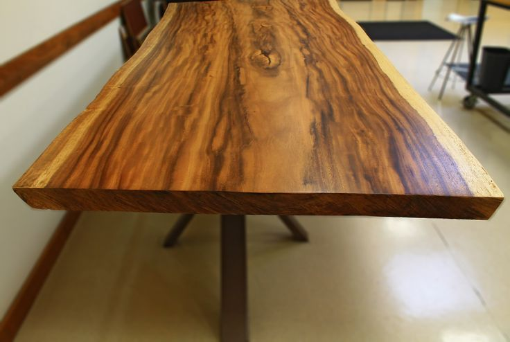 Finished Monkey Pot table top in our corporate office #monkeypot #liveedge #lumber #tabletopslab #bohlke