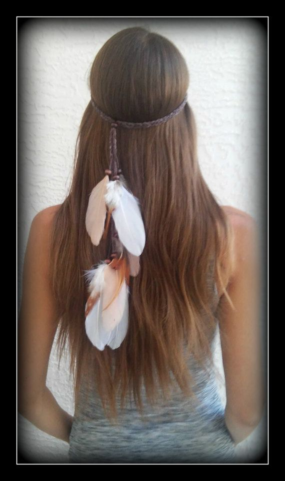 Native American Feather HeadBand wedding white by dieselboutique