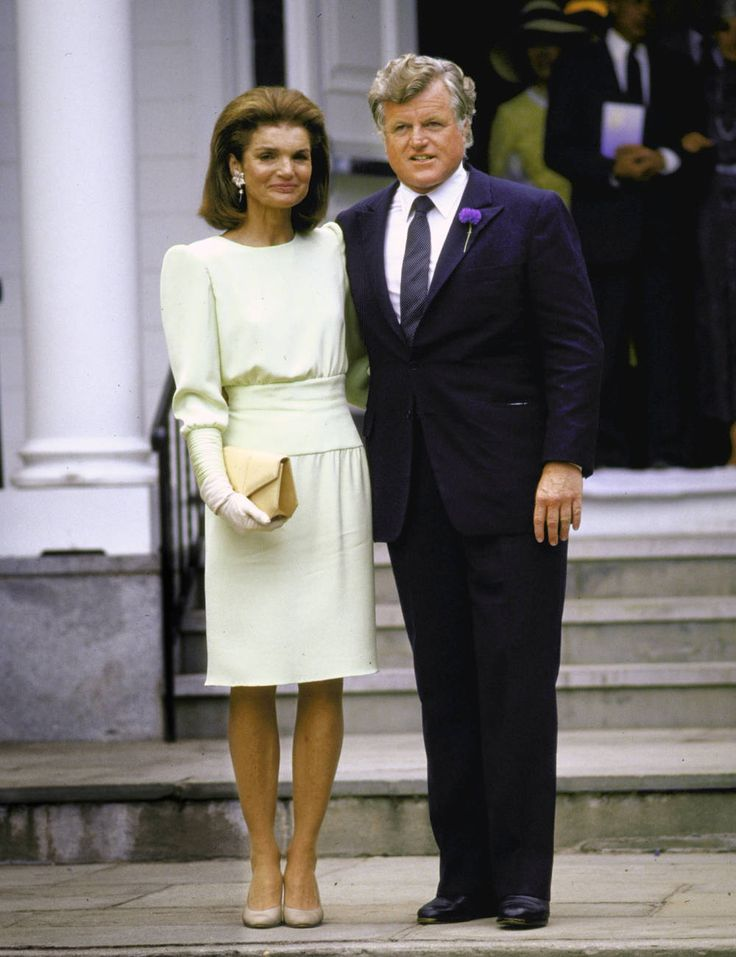 Jackie Kennedy Onassis was a vision in pale green alongside Ted Kennedy at Caroline's nuptials.