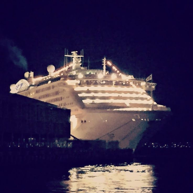 Sun Princess at night, after dining at AWU Delicious Food Chinese Restaurant, Hunter Street ~ photo and article for think-tasmania.com ~ #Hobart #Tasmania #Chinese #Foodie #cruise #ship #SunPrincess