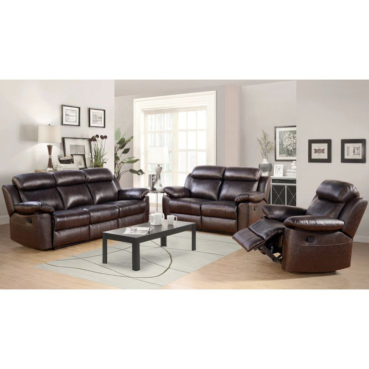 abbyson living thompson 3 piece leather reclining living room sofa set