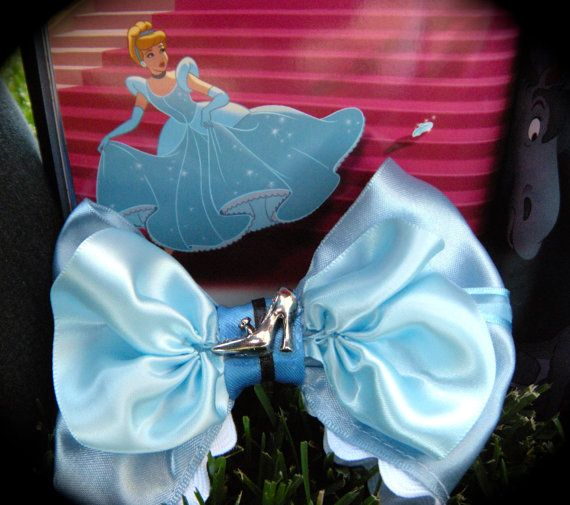 Cinderella Hair Bow w/ slipper in the Middle by CrazyBows365