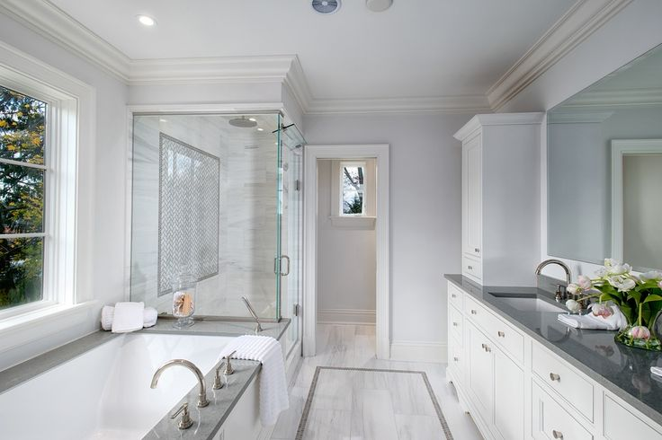 Transitional Master Bathroom with Leather, Quartz, Slate, Club White, Rectified Color Body Porcelain, Crown molding