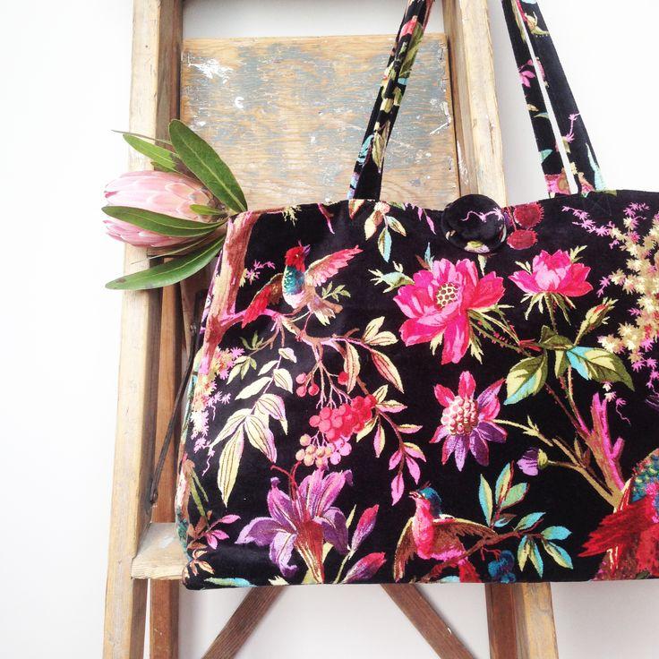 Large velvet carpet bag in the popular bird of paradise design in a striking black www.rosaliving.co.nz www.rosaliving.com.au