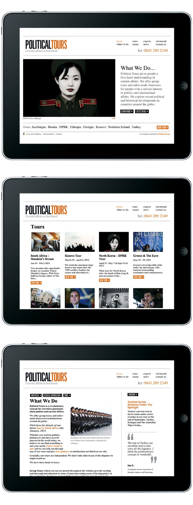 Responsive website for travel company Political Tours
