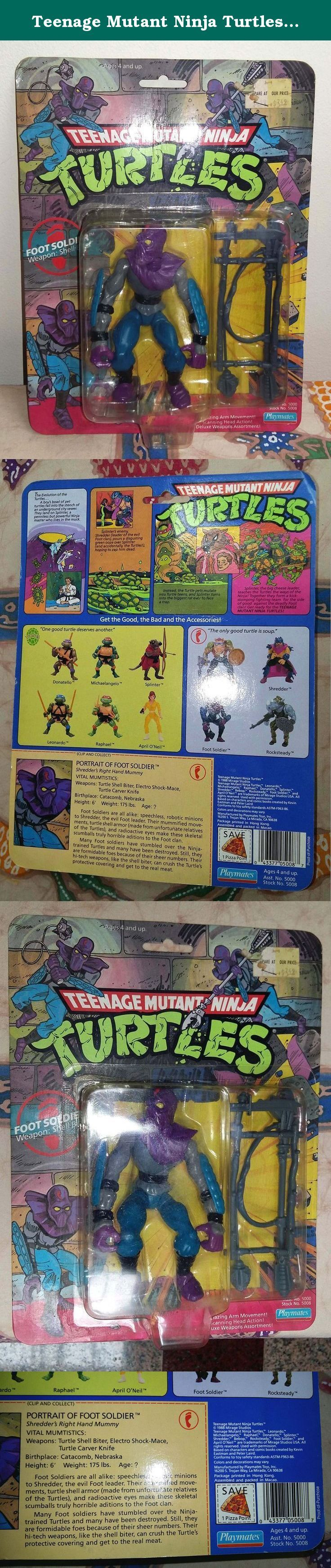 Teenage Mutant Ninja Turtles Foot Soldier Action Figure. Foot Soldier. TMNT figure. Weapon: Shell Biter. Made in 1990.