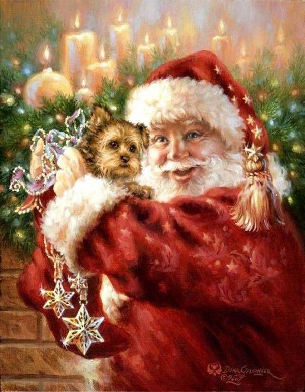 Santa bring me a puppy!  Dona Gelsinger art